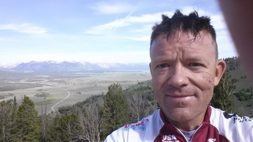 Obligatory selfie photo at the overlook for Sawtooth Valley.