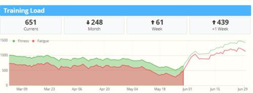 You can see the drop in training load throughout May.